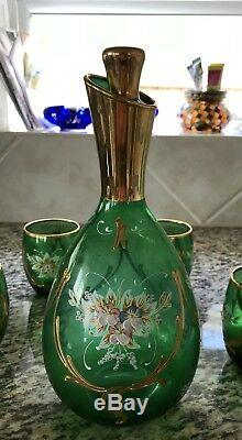 Vintage MURANO GLASS Decanter Liqueur Set With 24K Gold