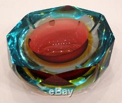Vintage MURANO Glass MID-CENTURY MODERN Mandruzzato FACETED SOMMERSO Geode Bowl