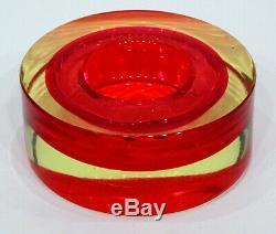 Vintage MURANO Glass MID-CENTURY MODERN Uranium Vaseline CENEDESE SOMMERSO Bowl
