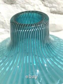 Vintage Mid-Century Modern Ermanno Nason Murano Art GLASS Vase Striped / Opaline