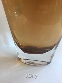 Vintage Mid Century Modern Murano Amber Handblown Crystal Glass Vase