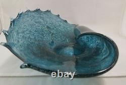 Vintage Mid Century Murano Hand Blown Glass Rolled Bowl Sea Shell Shape