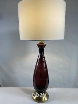 Vintage Mid Century Murano Italian Hand Blown Glass Amethyst Lamp