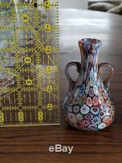 Vintage Millefiori Murano Art Glass Cabinet Vase Set