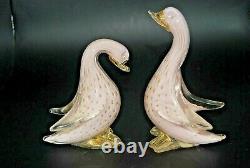 Vintage Murano AVeM label lattimo gold bullicante glass goose bird sculpture #2