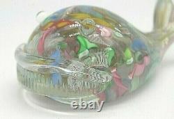 Vintage Murano AVeM label scrambled latticino glass baleen whale sculpture