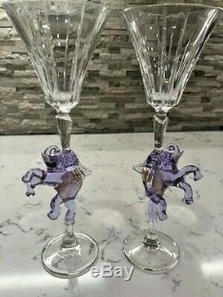 Vintage Murano Amethyst & Gold Color Elephant Flute Goblets (Pair) Hand Blown