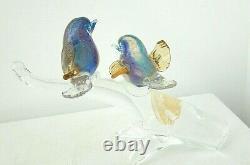 Vintage Murano Art Glass Blue Birds Clear Branch Blue Gold Hand Blown Sculpture