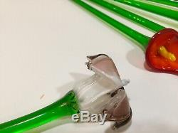 Vintage Murano Art Glass Long Stem Flowers-Blown-8pcs. 12-Collectibles