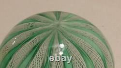 Vintage Murano Art Glass Paperweight Latticino Zanfirico Green White