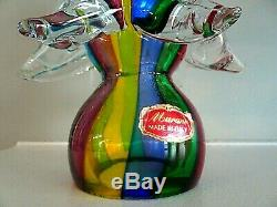 Vintage Murano Art Glass Striped Christmas Tree Figurine Sculpture with Label