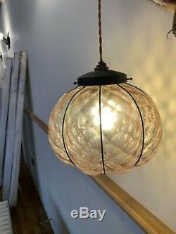 Vintage Murano Baloton Style Hand Blown Rose Glass Single Light Pendant