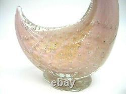 Vintage Murano Barbini pink lattimo gold powder bullicante glass duck sculpture