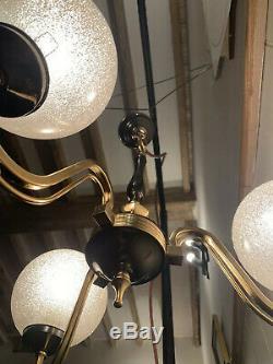 Vintage Murano Bubble Glass Globes Chandelier, 1970 Handblown Italian 3 Branch