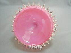 Vintage Murano Empoli Opaline/opalescent Art Glass Lidded Pedestal Bowl 11.5