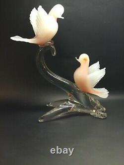 Vintage Murano Glass Birds On Branch