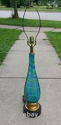 Vintage Murano Glass Lamp W Green & Blue Ribbin Swirl Mid Century Modern Italy