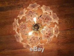 Vintage Murano Glass Pink Tulip Ceiling Light, Handblown Chandelier, Mcm, 1970s