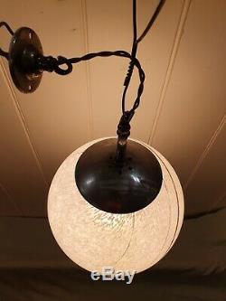 Vintage Murano Globe Light, White Mottled Hand blown Glass Italy MCM, Rewired
