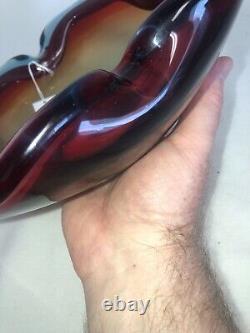 Vintage Murano Hand Blown Art Glass Heavy Bowl Ashtray Brilliant Color 10.75