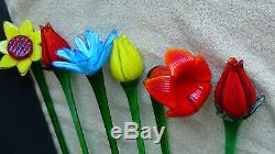 Vintage Murano Hand Blown Art Glass Long Stem Flowers Bouquet 6 pcs