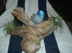 Vintage, Murano, Hand Blown Art Glass Silver and Blue Parrot on Driftwood Base