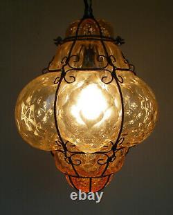 Vintage Murano Hand Blown Caged Glass Venetian Lantern Hanging Ceiling Light Vtg