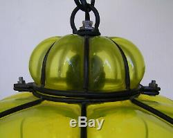 Vintage Murano Hand Blown Yellow Caged Glass Lantern Hanging Ceiling Light