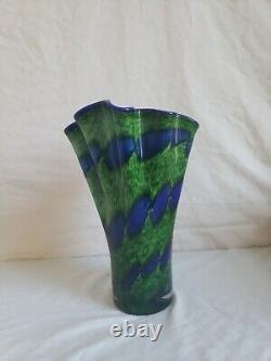 Vintage Murano Hand blown Cobalt Blue & Green Glass Handkerchief Vase Italy