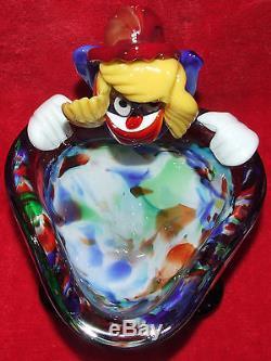 Vintage Murano Italian Art Glass Clown Figurine Bowl Hand Blown Seguso