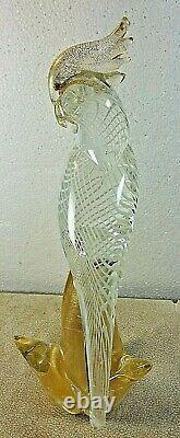 Vintage Murano Italian Art Hand Blown Glass Tall Parrot Bird Figure 12 1/2