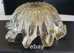 Vintage Murano Italian Hand Blown Wave Style Glass Bowl With Gold Fleck 1960s