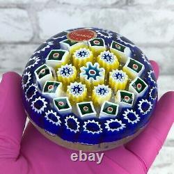 Vintage Murano Italy Millefiori Glass Paperweight Hand Blown Blue Yellow Green