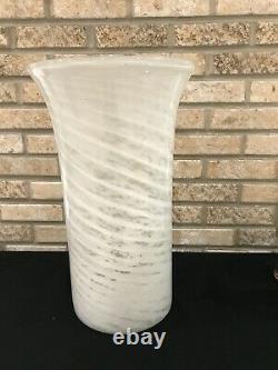 Vintage Murano Italy White Spiral Art Glass Umbrella Stand Vase Hand Blown 18