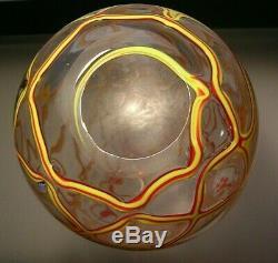Vintage Murano Large Art Glass Vase Abstract Net Design