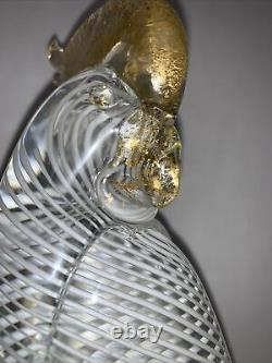 Vintage Murano Parrot Cockatoo Art Glass Bird White Ribbon Gold Glass Italy