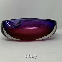 Vintage Murano Seguso 8.5 Rolled Edge Sommerso Bowl Hand Blown Purple & Magenta