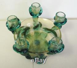 Vintage Murano Signed Seguso Viro Hand Blown Glass Candelabra Centerpiece Bowl