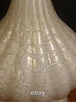 Vintage Murano Table Lamp Glass Hand Blown Mid Century White gold flecks crackle