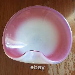 Vintage Murano Thumbprint Bowl Hand Blown Pink Opalescent