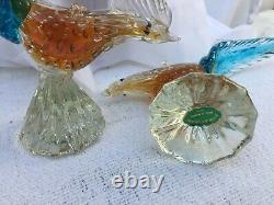 Vintage Murano Venetian Hand-blown Glass Pheasants with Gold Leaf Fleck