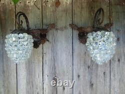 Vintage Pair Murano Hand Blown Glass Grape Wall Lights
