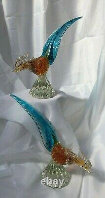 Vintage Pair of Murano Venetian Hand-blown Glass Pheasants with Gold Leaf Fleck