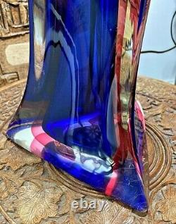 Vintage Seguso Murano Vetri Darte hand blown glass Italian table lamp base