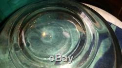 Vintage Signed MURANO HAND BLOWN CLEAR CRYSTAL GLASS BOWL TRIANGLE RUFFLE EDGE