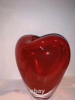 Vintage Signed Salviati, Murano Glass, Sommerso CUORE Hand Blown Heart Vase