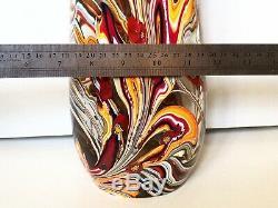 Vintage Solid 13.5 1950 Large Murano Ribbon Latticino Glass Vase Millefiori Old