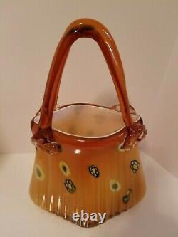 Vintage Tall Murano Purse Handbag Basket Vase Style Hand Blown Glass Art 13.75H