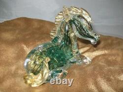 Vintage Venetian Art Glass Horse Figurine Murano Sculpture Gold Dust Hand Blown