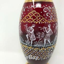 Vintage Venetian Decanter Cup Set Italian Glass Ruby Gold Grecian Figures Wine
